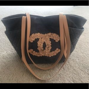AUTH RARE CHANEL DENIM LEATHER FLOWER TOTE BAG